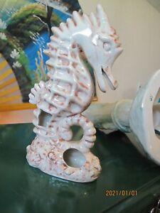 """Vintage 1970's Aquarium Fish Tank 8"""" Ceramic Sea Horse Saltwater Decoration"""
