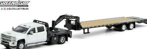 GREENLIGHT WHITE CHEVROLET 3500OHD WITH GOOSENECK TRAILER 51356-A DCP
