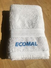 large thick cotton BATH TOWEL Stroetmann white with blue logo Ecomal 132x65cm