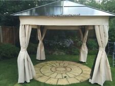 Garden 2.5 x 2.5m Patio Hardtop Gazebo Polycarbonate Aluminium with curtains
