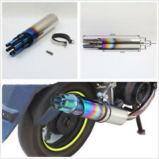 "3"" 76mm Semi Blue Motorcycle ATV Bike Exhaust Pipe Silencer Muffler w/Rotate Cap"