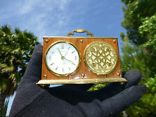 EXC VINTAGE SWISS MUSICAL ALARM CLOCK WITH REUGE MUSIC BOX   ( WATCH THE VIDEO )