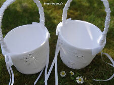2 Stück süße Streukörbchen, weiss mit Strass, zum Brautkleid, Braut, Hochzeit