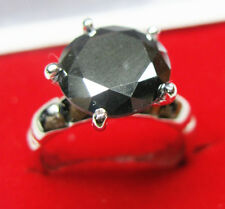 AAA 5.48ct opaque black round cut solitaire  sterling silver engagement ring NR