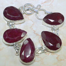 """SPECTACULAR FACETED NATURAL CHERRY RUBY SILVER LINK BRACELET 6 1/2"""" - 7 1/4"""""""