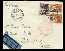 AUSTRIA 1932 AIRMAIL FRANKING + POSTMARKS to CHELMSFORD GB