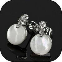 18K WHITE GOLD GP MADE WITH SWAROVSKI CRYSTAL SHELL EARRINGS STUD