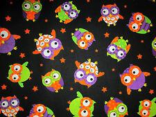 OWLS SKULLS OWL GREEN ORANGE PURPLE COTTON FABRIC FQ