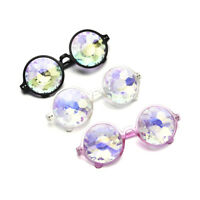 Diffraction Crystal Lens Round Glasses Festival Rave Kaleidoscope Rainbow