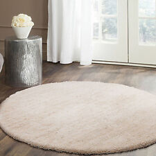 Round Shag Shaggy Floor Rug Cream White Luxury Soft Plush Lounges Carpet 120cm