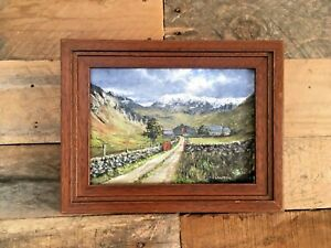 STUNNING SMALL I LAWTON OIL PAINTING NANT FFRANCON OLD ROAD SNOWDONIA N. WALES