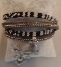 Neues AngebotArmband Modeschmuck Wickelarmband schwarz weiß Feder