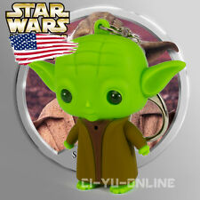 New Star Wars Yoda LED Flashlight Sound and Light Keychain Key Ring US