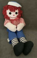 Vintage Handmade Raggedy Andy Doll Blue Stripes Folk Art