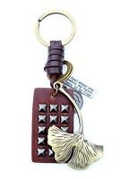 AuPra Woman Leaf Keyring Leather Vintage Mom Keychain Lady Pendant Friend Gifts
