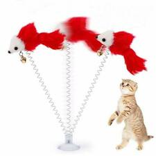 Funny cat toys Multicolored sucker with spring plush mouse pet toys Hot
