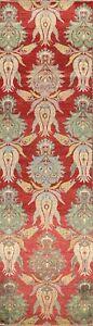 All-Over Wool/ Silk Abstract Oriental Runner Rug Handmade Hallway Carpet 3'x12'