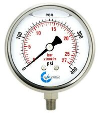 "4"" Pressure Gauge, Stainless Steel Case, Liquid Filled, Lower Mnt 400PSI"