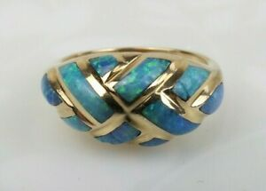 Kabana 14k yellow gold multi rich blue opal gem inlay vintage ring size 7 as is