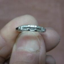 VINTAGE LADIES PLATINUM BAGUETTE + ROUND 44 POINTS DIAMOND WEDDING BAND SZ 7 1/2