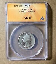 1942 FS-801 DDR ANACS VG8 Washington Quarter Doubled Die Reverse
