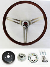 """Bel Air Biscayne Caprice Low Gloss Finish Wood Steering Wheel 15"""" Red/Blk cap"""