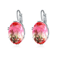 1Gorgeous Oval Cut Mystic Rainbow Topaz Leverback Drop Earrings 925Silver Jewelr