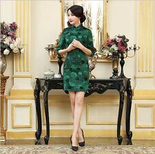 New green Chinese women's 3/4 sleeves woolen evening mini Dress/Cheong-sam 6-14