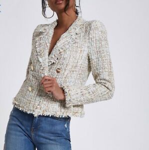 River Island Tweed Blazer With Gold Buttons Size 8