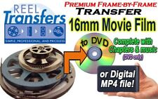 We convert 16mm film to DVD or MP4 (Frame-by-frame method- not projected!)