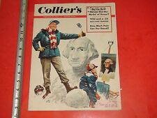 JK324 Colliers Magazine Feb. 1953 George Washington Portrait Dog Sled Snowman