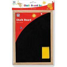 Childrens A4 Chalk Board Set Blackboard Duster Stationery Educational Black Wood