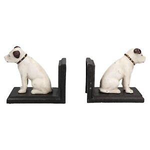 HMV Nipper Dog Bookends Ornament Figurine Cast Iron Book Ends Stand Holder