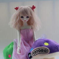 1/3 1/4 1/6 BJD Doll Hair Short Wavy Curly Wig Pink