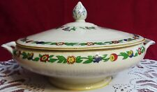 ATQ MYOTT, SON & CO GREEN LEAF PATTERN #1791 FOOTED ROUND COVERED VEGETABLE BOWL