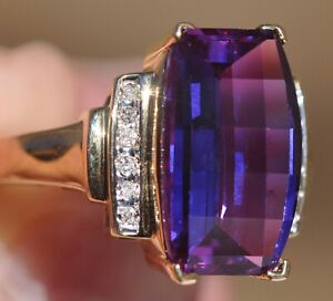 10k Solid Yellow Gold Ring, Radiant Checkerboard Cut Amethyst Round VS2 Diamonds