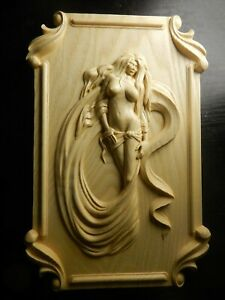 Wood carved picture wall decoration plaque. Nude long haired woman. Perfect gift