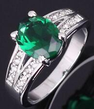 BRAND NEW - 10K White Gold Filled Green Emerald Ring - size 8
