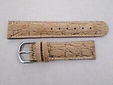 20mm lug size crocodile grain genuine leather padded watch band strap beige