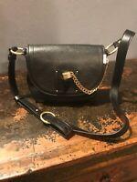 NWT Michael Kors James Medium Leather Saddlebag Black Cross Body Bag 30F6AJYM7L