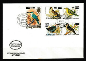 Aitutaki 1983 Bird Series Of 1981-82 Surcharged Stamps FDC - Unaddressed - Mint