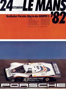 VINTAGE 1982 LE MANS PORSCHE AUTO RACING POSTER PRINT 24x18 9MIL PAPER