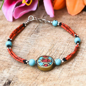 Spectacular Red Coral With Turquoise Gemstone 925 Silver Handmade Bracelet