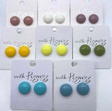 13 mm Round Plastic Stud Earrings 8 Colours New