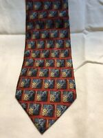 Ermenegildo Zegna Mens Neck Tie Red Blue Beige 100% Silk Geometric 58 x 3.5""