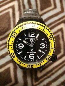 NEW Swiss Legend Neptune Stainless Steel Black and Yellow Swiss Made Men's Watch