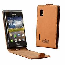 Akira Manufactura Cuero Genuino Funda LG L5 Billetera Cover Case Wallet Marrón