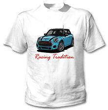 Mini Cooper tradición de carreras de inspiración Azul-Blanco Camiseta Algodón