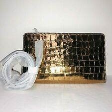 MICHAEL KORS LARGE CROSSBDOY CLUTCH METALLIC GOLD CROC EMBOSSED LEATHER BAG  NWT