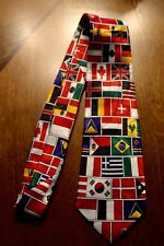 Flags Of All Nation On A New 100% Polyester Neck Tie! Free Shipping